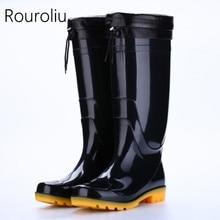 Rouroliu Men Winter Knee-High Rain Boots Waterproof Non-Slip Safety Working Shoes Man Wellies PVC Autumn RT342