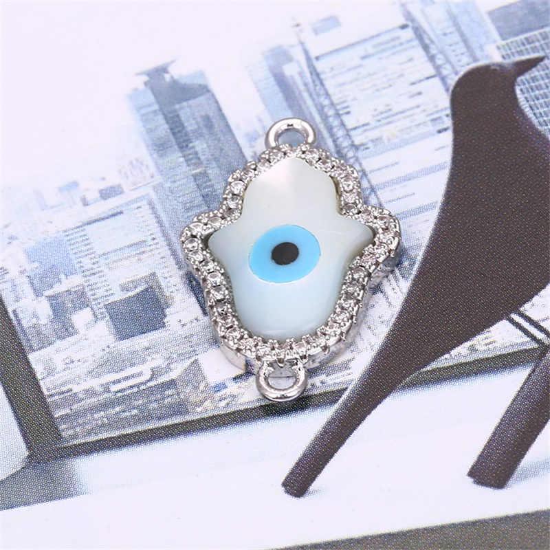 22mm * 13mm Lòng Bàn Tay Micro Mở Đường CZ Tự Nhiên Vỏ Bào Ngư Thủ Công Trang Sức Ác mắt Vòng tay đầu kết nối TỰ LÀM Phụ Kiện Trang Sức