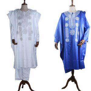 Image 3 - H & D אפריקאי חליפת עבור גברים חלוק חולצה מכנסיים סט ארוך שרוול חולצות רקמת Agbada בגדי Boubou Africain Homme מסורתית גלימות