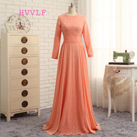 HVVLF Muslim Evening Dresses 2018 A line Long Sleeves Chiffon Lace Orange Elegant Saudi Arabic Long Evening Gown Prom Dress