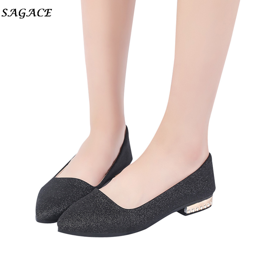 SAGACE shoes woman 2.5cm Ankle Strap Women Sequins Shallow Slip On Low Heel Flat Party Shoes Pointed Single  Shoes Mujer FemaleSAGACE shoes woman 2.5cm Ankle Strap Women Sequins Shallow Slip On Low Heel Flat Party Shoes Pointed Single  Shoes Mujer Female