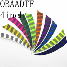 OBAADTF 50pcs 4 inch Shield Cut Shape Striped White Archery Hunting And Shooting Arrow Feather Fletching The New Listing