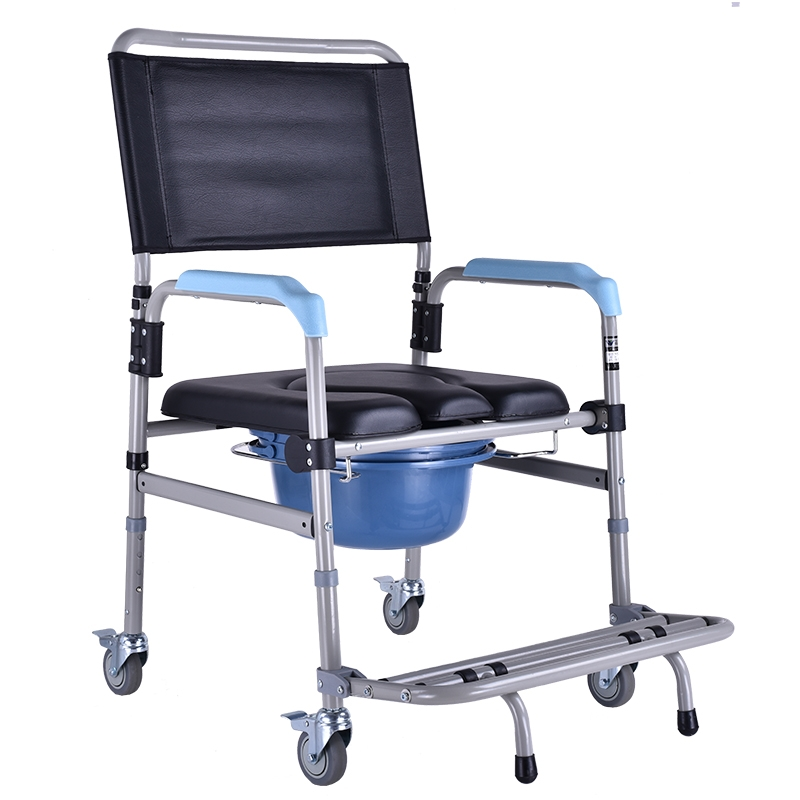Commode chair Foldable with Four Brake Wheels and Waterproof Seat Cushion Thick Aluminum Alloy