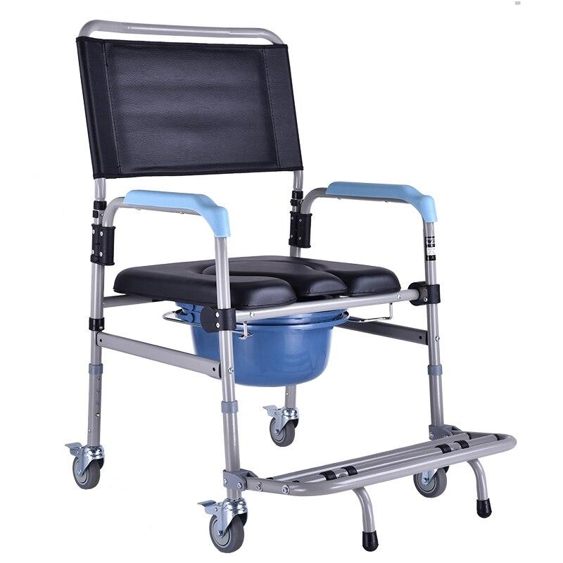 15%, chaise de pot d'aînés avec les fauteuils roulants mobiles d'alliage d'aluminium de quatre roues pour le ToiletChair se pliant de vieux hommes
