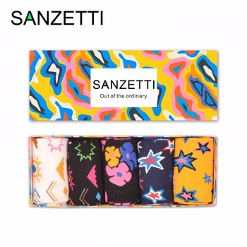 SANZETTI 5 pair/lot Gift Box Colorful Men's Funny Socks Novelty Combed Cotton Causal Dress Crew Wedding Socks For Birthday Gifts