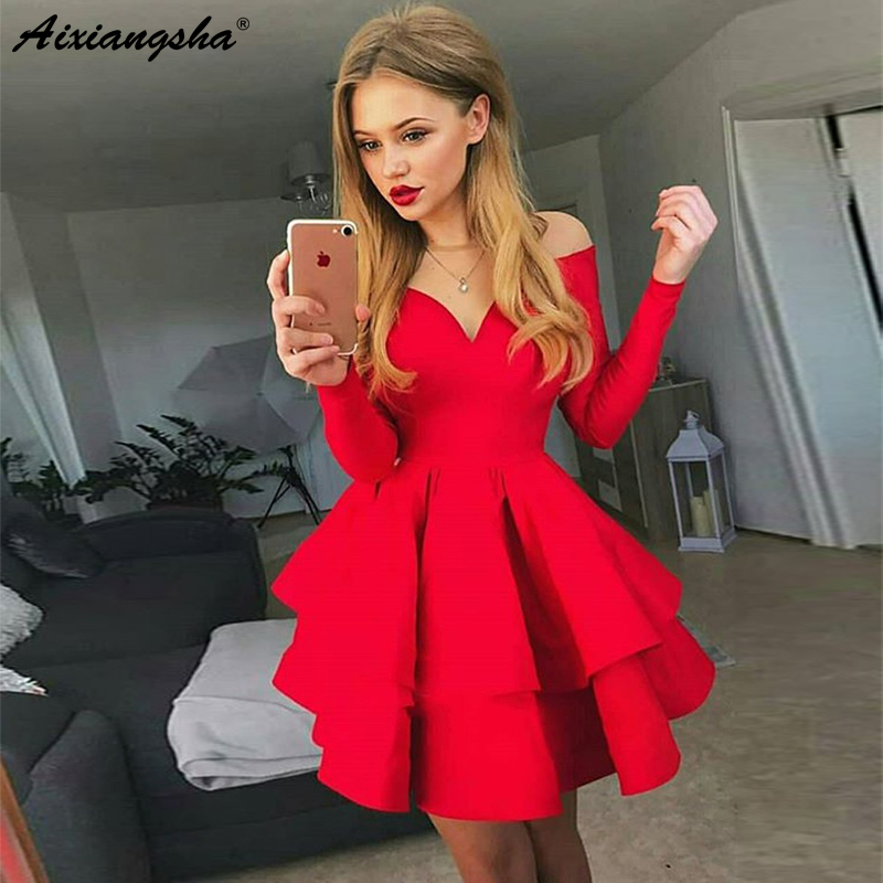Elegant Mini Short Party Dresses 2019 A Line Off The Shoulder V Neck Long Sleeves Elastic Satin Red Homecoming Dresses