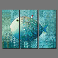 2016 Fashion New Promotion 3pcs Animal Decoration The Bottom Of The Sea Fish Canvas Painting On