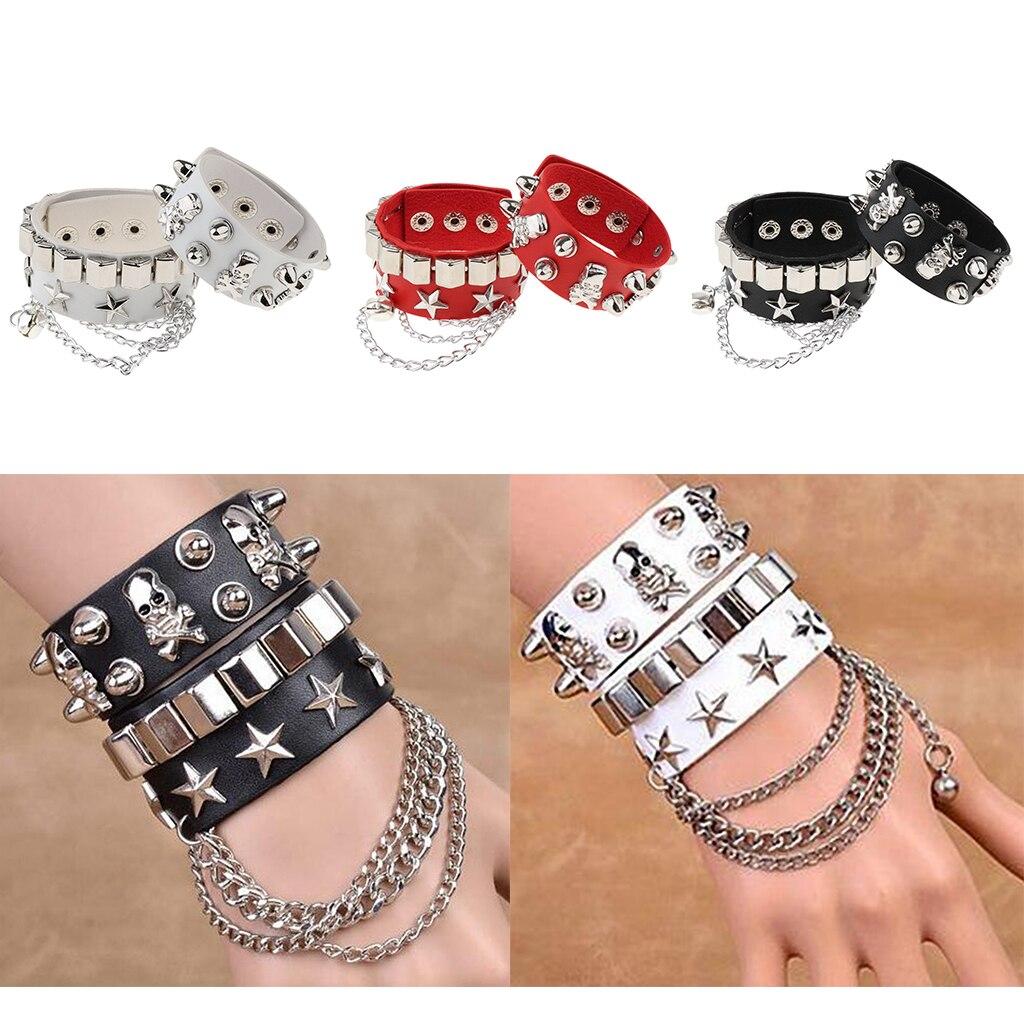 Men Women Layered PU Gothic Skull Punk Bracelet Rivet Leather Cuff Bangle Wristband Jewellery