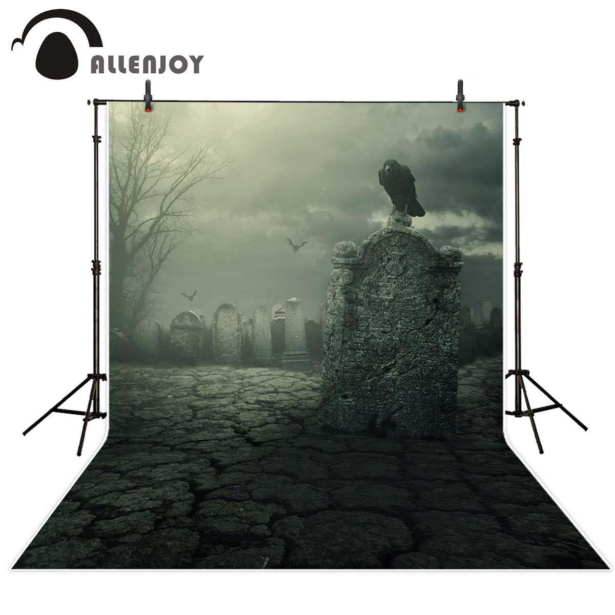 Allenjoy photographic background Crow grave cemetery gloomy tombstone backdrop newborn original design fantasy studio props allenjoy background for photo studio full moon spider black cat pumpkin halloween backdrop newborn original design fantasy props