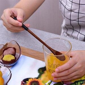 Кофейные совки из натурального дерева, обернутые длинной ручкой, кофейная чайная ложка для смешивания, десертная ложка