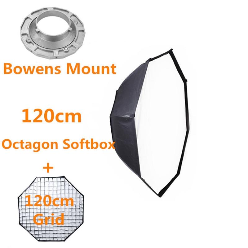 Bowens Mount Octagon Softbox 120cm with Grid for Studio Flash Photo Studio Soft Box Photography Accesorios Fotografia 50x130cm softbox reflector with bowens mount for studio flash photo studio soft box photography accesorios fotografia light box