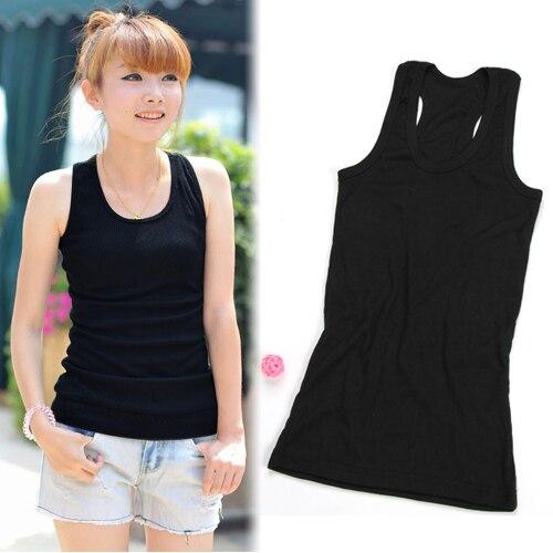 7e99f3f0d3b Free Shipping New Fashion Slimming Women Ladies Girls Stretchy Solid Vest  Camis Racerback O Neck Sando Shirt Tank Tops Black