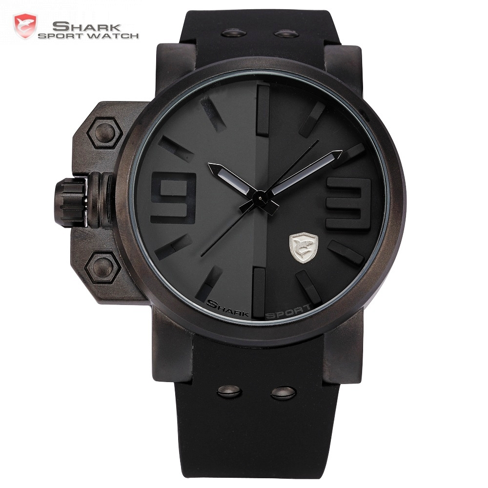 Salmon Shark Sport Watch Men Stainless Steel Case Full Black Big Face Cool Silicone Strap Men Outdoor Military Wristwatch /SH171 relojes full stainless steel men s sprot watch black and white face vx42 movement