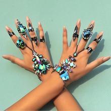 DIY Crystal Beads Finger Charm Bracelet Female Bohemian Ethnic Bracelet&Bangle 2017 Beach Hand Chain JURAN Fashion Jewelry