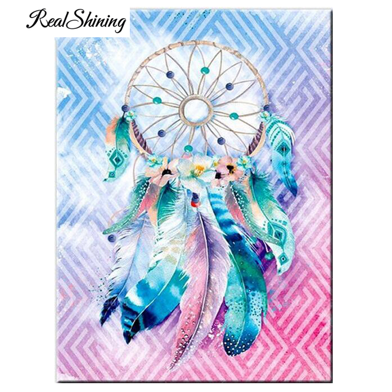 Us 3 9 39 Off 5d Diamond Embroidery Full Square American Dream Catcher Feather Scenery Diy Diamond Painting Cross Stitch Abstract Art Fs5670 In