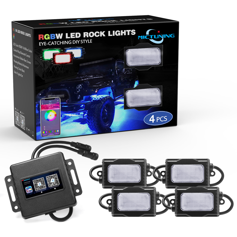 New 4 8 Pods LED Rock Lights Bluetooth Controller Timing Function Music Mode RGBW Multicolor Underbody Underglow Neon Light KitNew 4 8 Pods LED Rock Lights Bluetooth Controller Timing Function Music Mode RGBW Multicolor Underbody Underglow Neon Light Kit