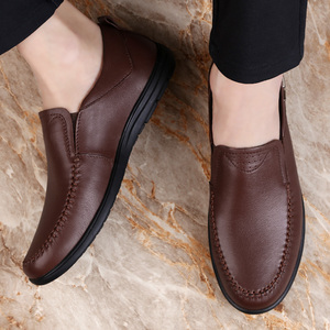 Image 2 - 2020 mens dress shoes slip on genuine leather cow classic black or brown office shoe man plain formal shoes for men big size 12