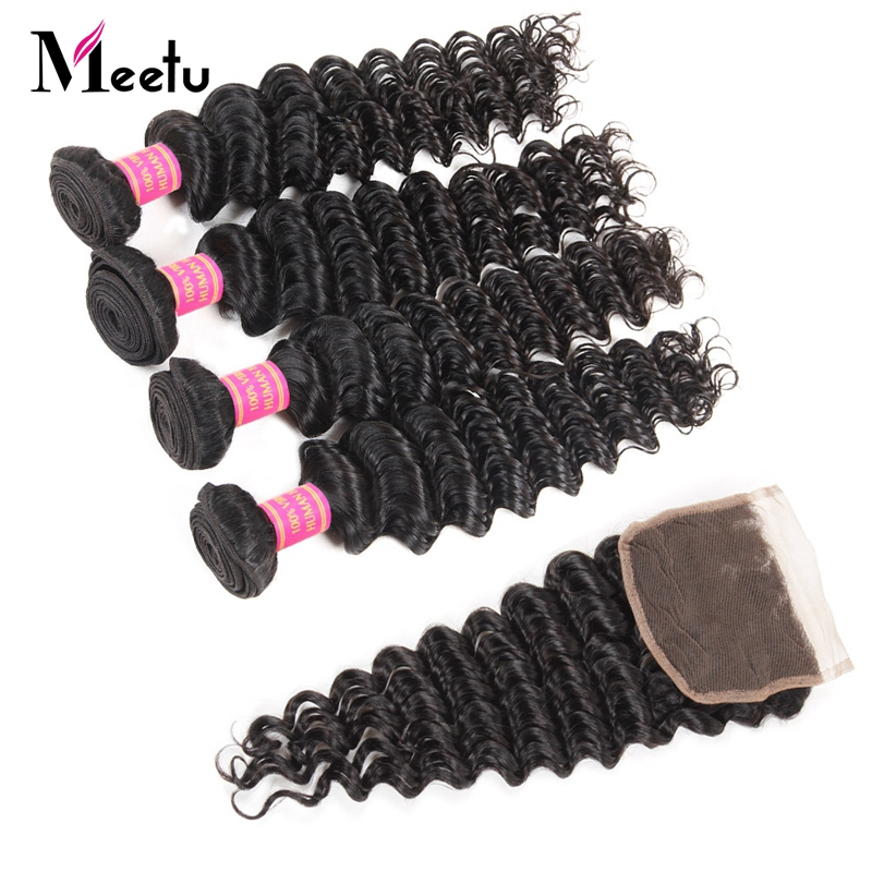 Meetu Hair Indian Human Hair Bundles With Closure Non Remy Hair Lace Closure With 4 Bundles Deep Wave Bundles With Closure ...