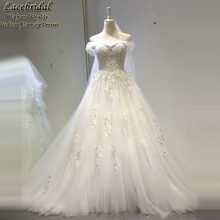 Dubai Luxury Ball Gown Sweetheart Lace Beaded Pearls Wedding Dresses 2016 with Straps Long Bridal Gowns vestidos de novias XW118