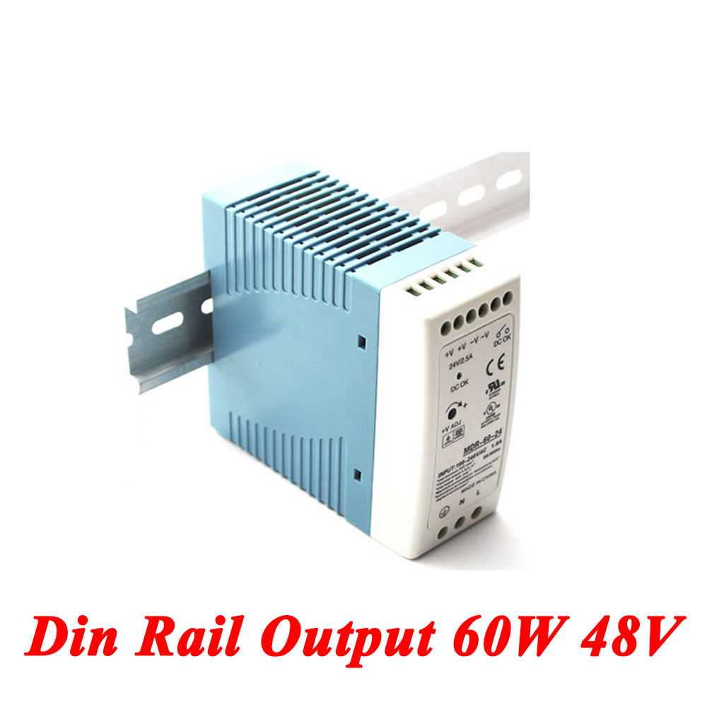 MDR-60 Din Rail Power Supply 60W 48V 1.25A,Switching Power Supply AC 110v/220v Transformer To DC 48v,ac dc converter led power supply 48v 201w ac to dc switching power supply ac dc converter high quality s 201 48v free shipping
