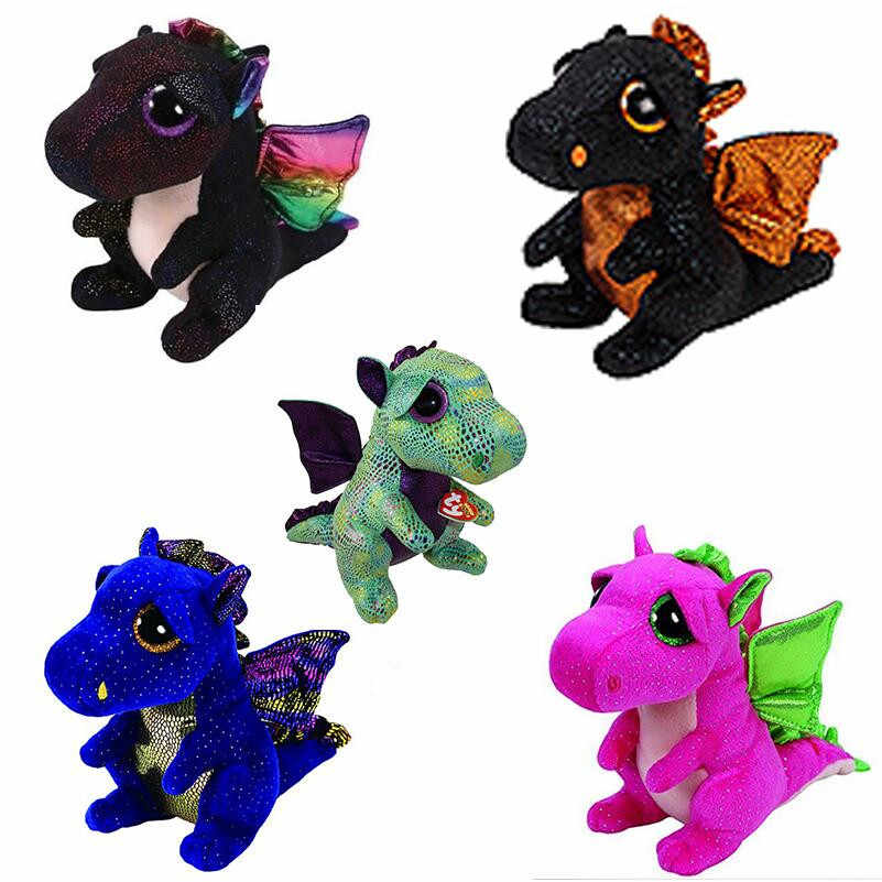"6 ""TY Beanie Boo Halloween Saffire Darla Anora Merlin Cinder Dragão 15 centímetros Plush Stuffed Animal Toy Collectible presente de natal"