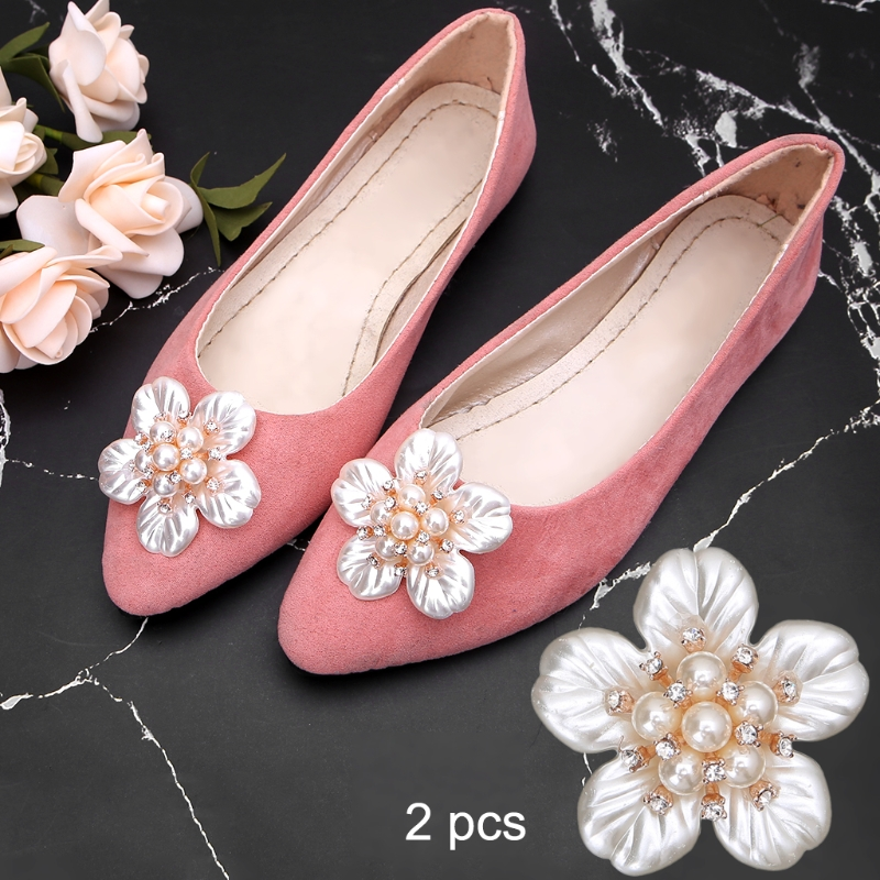 KLV 2Pcs Flower Rhinestone Faux Pearl Embellishments Shoe Clips Cloth Patch Applique Shoe Decorations trendy faux pearl flower rhinestone shape cuff ring for women