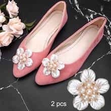 2Pcs Flower Rhinestone Faux Pearl Embellishments Decorative Accessories  Shoe Clips Cloth Patch Applique 702b4891d4f5