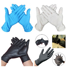 100 Pcs Nitrile Disposable Gloves Black Waterproof Household Male Female Gloves for Medical Mechanic Repairman Work Gloves 50pcs pack purple disposable nitrile gloves 9 length for dentist medical use food process tattoo protective gloves