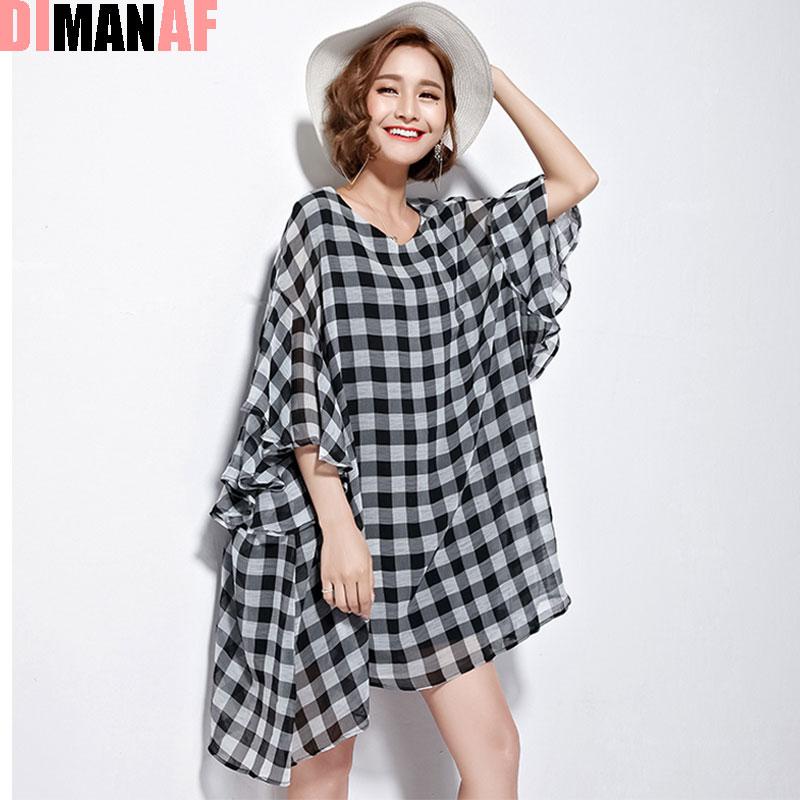 Dimanaf Summer Style T Shirt Women Plus Size Plaid Print