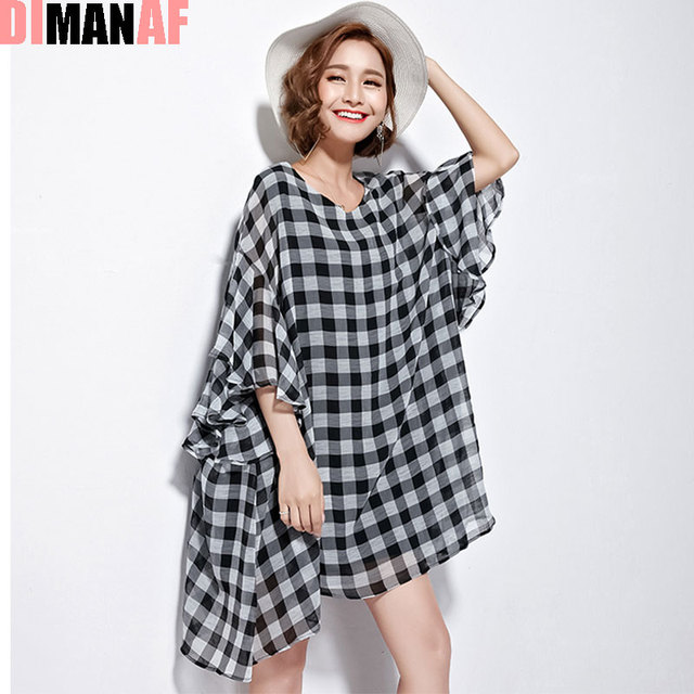 de1e564fd58 DIMANAF Summer Style T-Shirt Women Plus Size Plaid Print Loose Female  V-Neck Butterfly Sleeve Fashion Holiday Casual New T-Shirt