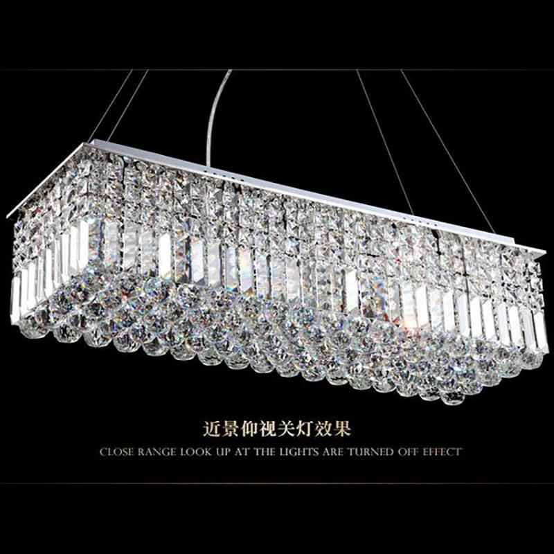 Image 4 - LED Modern Rectangular Crystal Chandelier Light Pendant Lamp Hanging Lamp for Living Room Dining Room Restaurant Decoration-in Ceiling Lights from Lights & Lighting