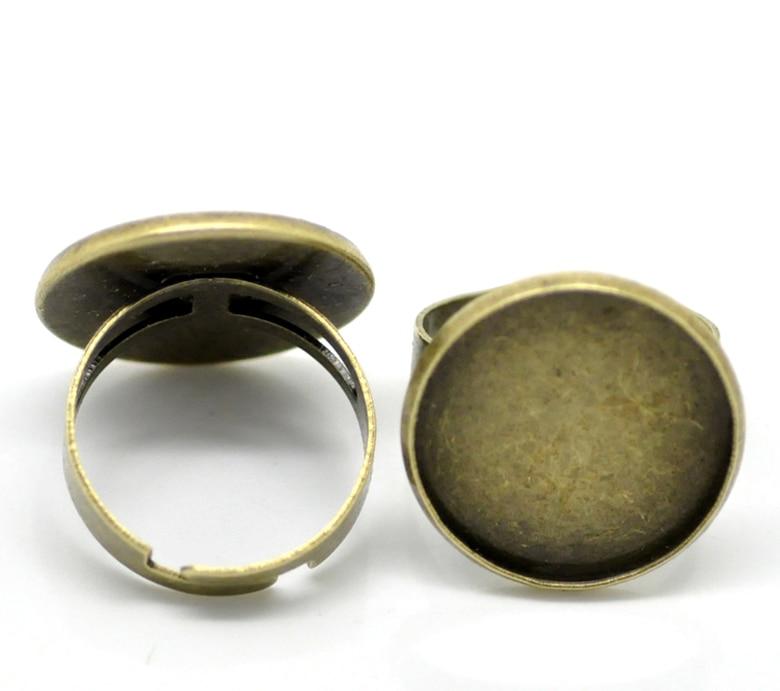Doreen Box hot- 10PCs Antique Bronze Adjustable Round Cabochon Setting Rings 18.3mm US 8(Fit 20mm Dia.) (B20900)