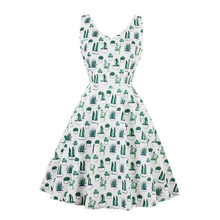 Retro Hepburn Style Whole-body Green Cactus Print Sleeveless Slim Waist Flare Dress Nov30