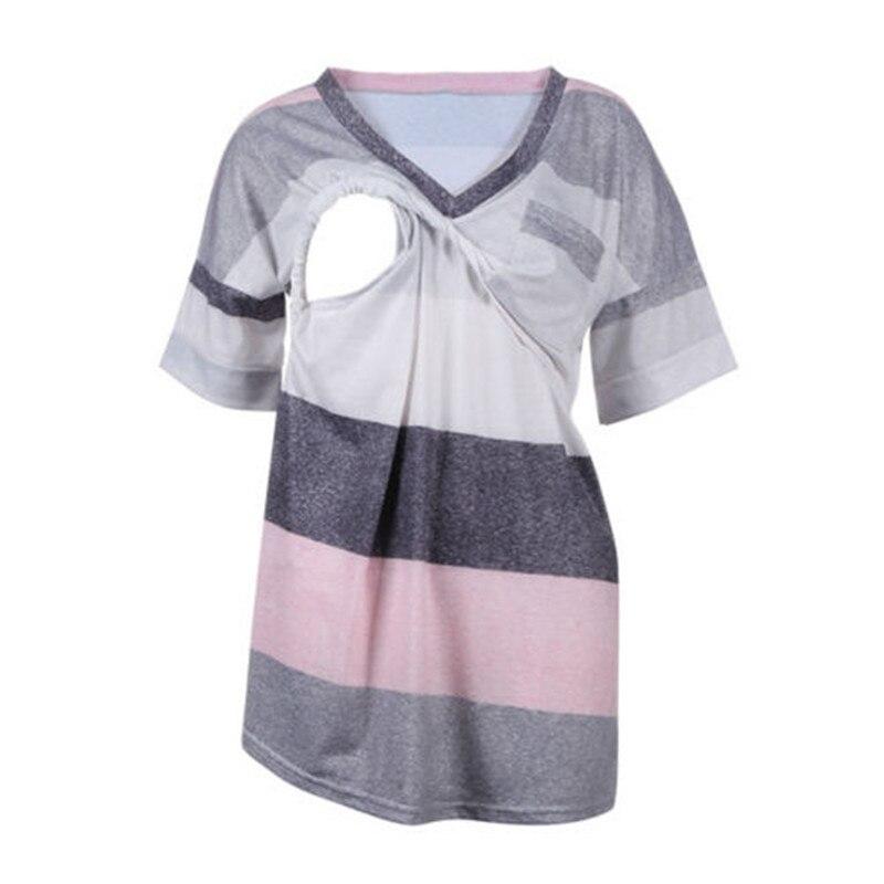Летняя беременная женщина медсестра Топы с коротким рукавом с v-образным вырезом линии с полосками жилет кормление грудью релаксации рубаш...