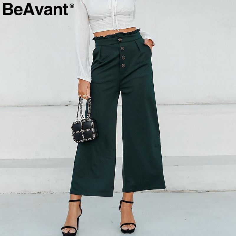 BeAvant High waist button   wide     leg     pants   trousers Ruffled office lady casual   pants   women Streetwear summer loose   pants   female
