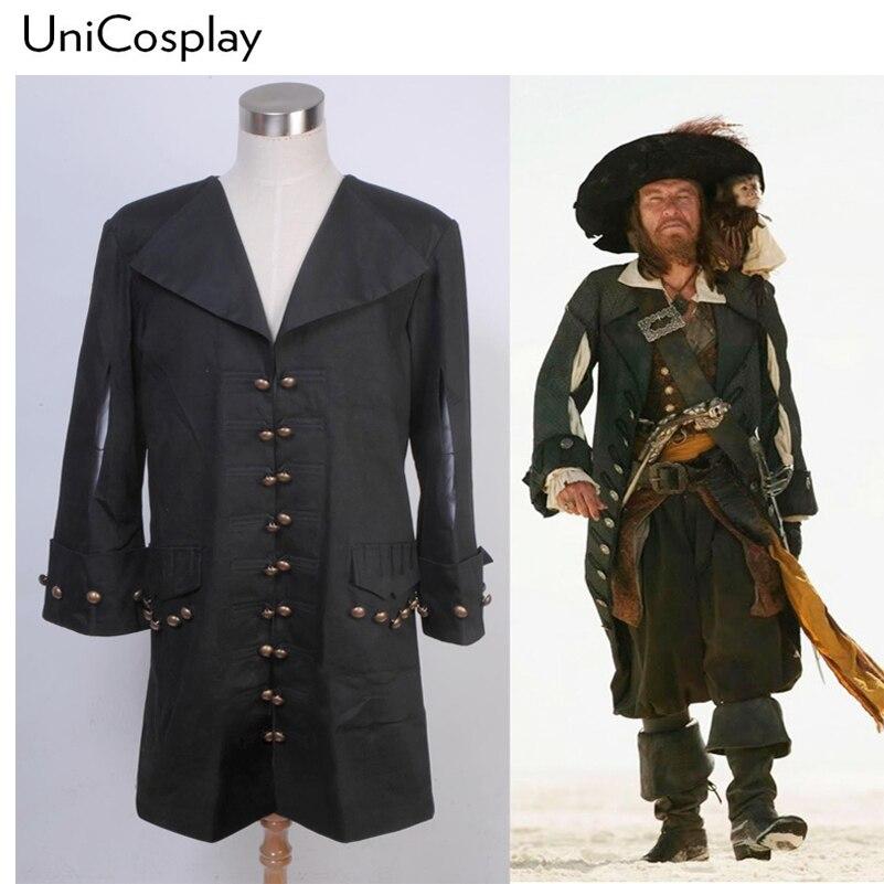 Пираты карибского моря Барбосса Куртка Косплей Костюм Хэллоуин Черное Пальто