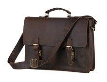 """Top Quality Vintage Genuine Leather Bag Crazy Horse Leather Men Messenger Bags Portfolios Briefcase 14"""" Laptop bag #VP-J7223"""