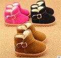 Preço de fábrica 2017 inverno shoes clássico bonito meninas do bebê inverno botas Botas de Neve Meninos Mais Grossa Sola Muscular Vaca Sólida Size21-25