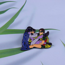 Batman Batgirl & Robin enamel pin Adam West Vintage DC Comics Wonder Woman Lapel Pin(China)
