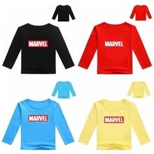 Высококачественные футболки для маленьких мальчиков с героями комиксов Marvel, брендовые Детские футболки с длинными рукавами одежда для мальчиков детская футболка Fille, футболка для маленьких мальчиков