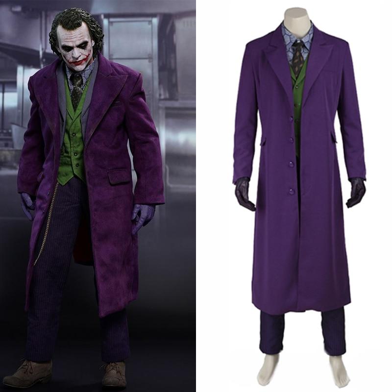Batman The Dark Knight Cosplay Joker Costume Coat Pants Vest Tie Halloween Party Men Adult Suit Carnival Outfit Prop Custom Made