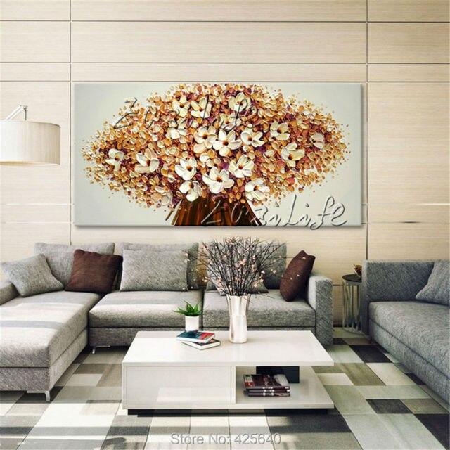 Canvas Schilderij Handgeschilderde paletmes 3D textuur bloem, Muur ...
