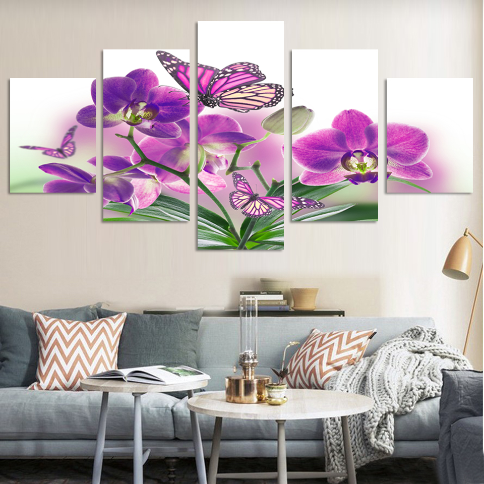 2017 5 Piece Art Wall Picture Abstract Modern Painting Purple Rose Blue Flower Erfly Home Decorative Paint On Canvas
