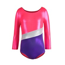 Girls gymnastics leotard long sleeve holographic dance clothing children