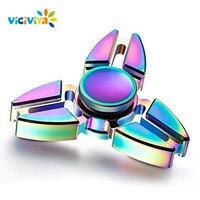 VICIVIYA Anti Stress Fidget Spinner Rainbow Zinc Alloy Tri Spinning Top EDC Gyro Hand Toys For