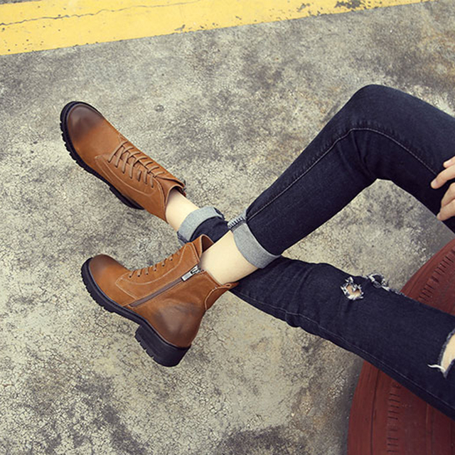 fe597ab317c Big Size Women  s Boots Lace-Up VALLU Brand Female Ankle Booties Med Heel  Zipper British Fashion Lady Riding Shoes