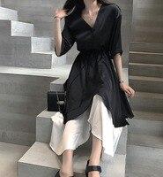Cakucool New Black Summer Dress V neck Asymmetric Long Vestido Empire Gothic Japanese Satin Faux Two piece Dresses Plus size