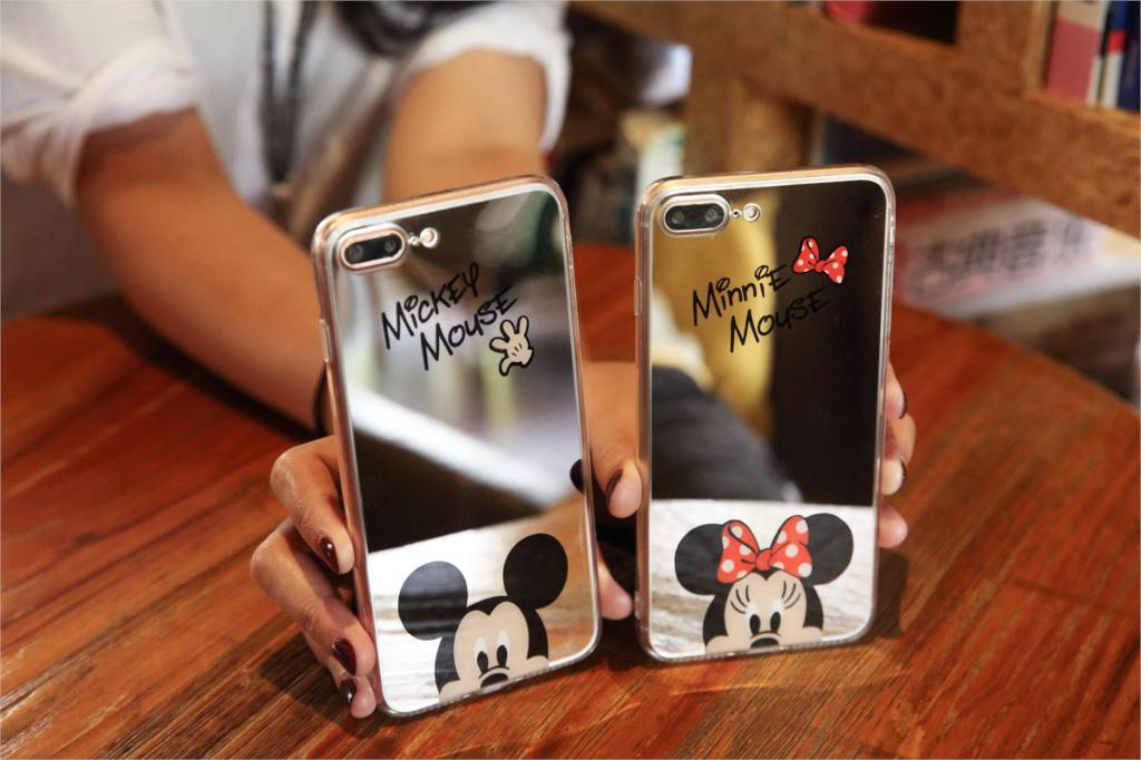 HTB1wLfsb J SKJjSZPiq6z3LpXaw - Minnie Mickey Mouse Mirror Case for iPhone 6 s 6S X 10 7 8 Plus 6Plus 6sPlus 7Plus 8Plus SE 5S Cover silicone PTC 333