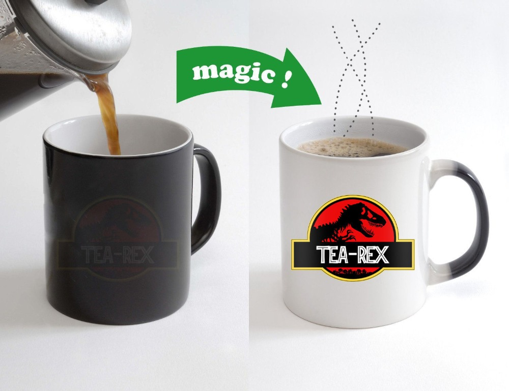 Tea Rex Jurassic Park mugs heat change color coffee mug ceramic novelty porcelain beer tea cups