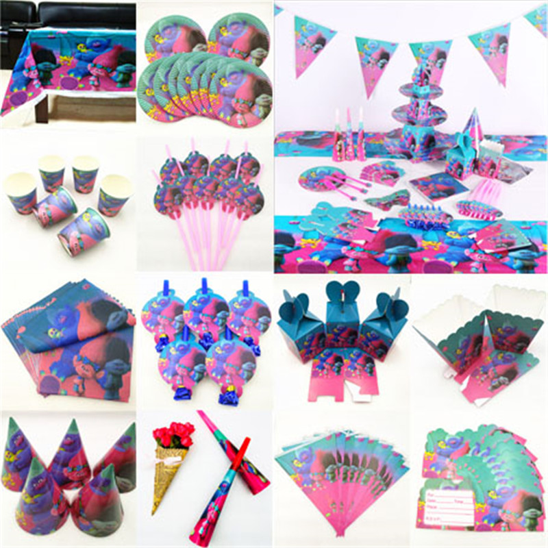 Kids Birthday Trolls Party Supplies Decoration Tablecloth Cup Plate Straw Napkin Cap Gift Bag Candles Candy Popcorn Box Card